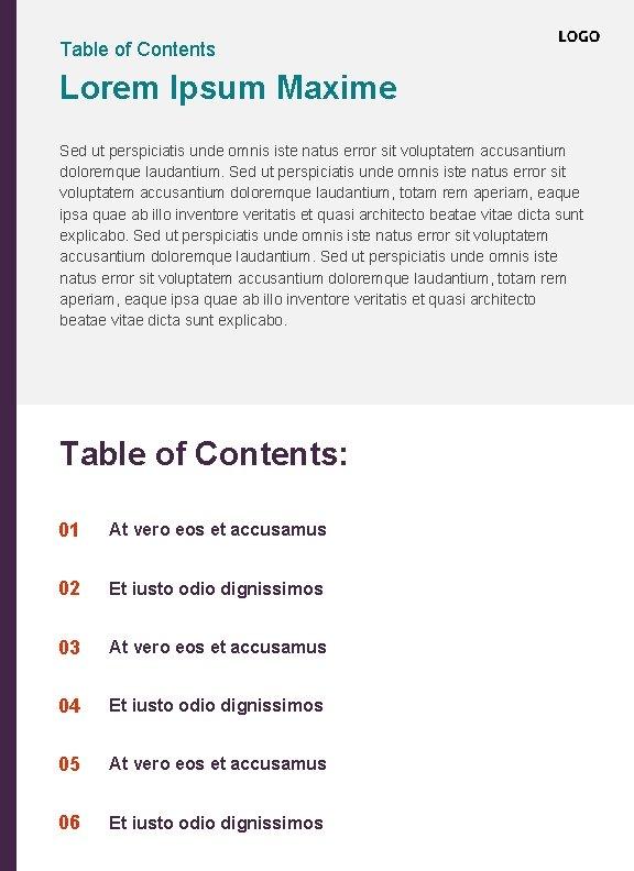 Table of Contents Lorem Ipsum Maxime Sed ut perspiciatis unde omnis iste natus error