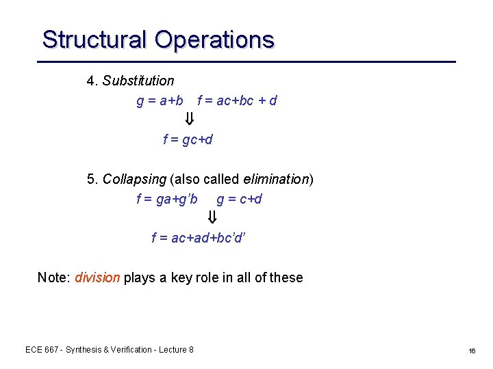 Structural Operations 4. Substitution g = a+b f = ac+bc + d f =
