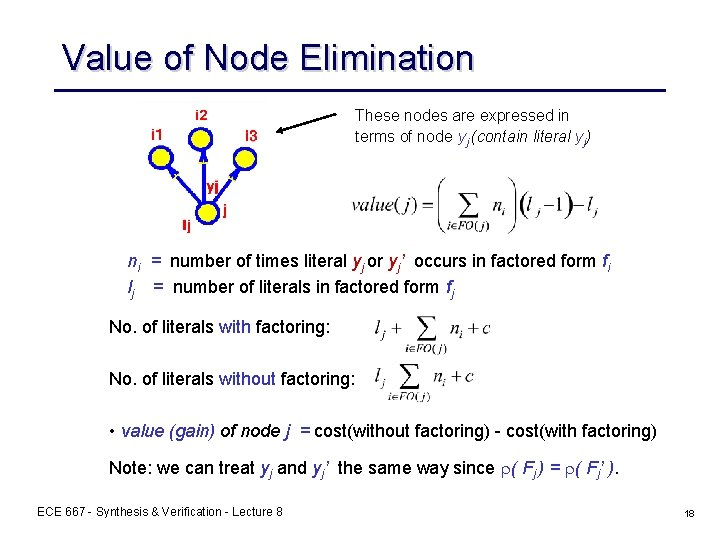 Value of Node Elimination These nodes are expressed in terms of node yj (contain