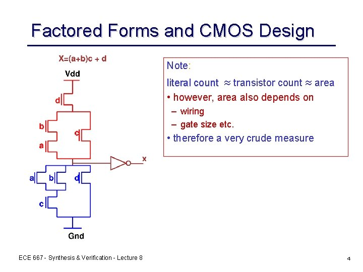Factored Forms and CMOS Design Note: literal count » transistor count » area •