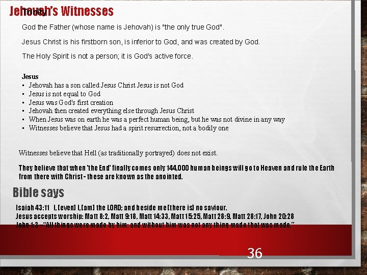 """Trinity Jehovah's Witnesses God the Father (whose name is Jehovah) is """"the only true"""