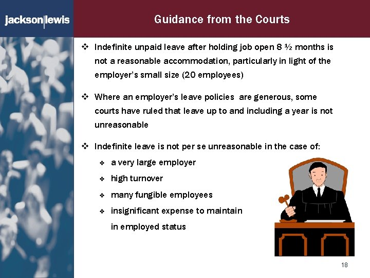 Guidance from the Courts v Indefinite unpaid leave after holding job open 8 ½