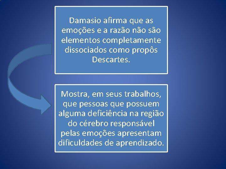 Damasio afirma que as emoções e a razão não são elementos completamente dissociados como