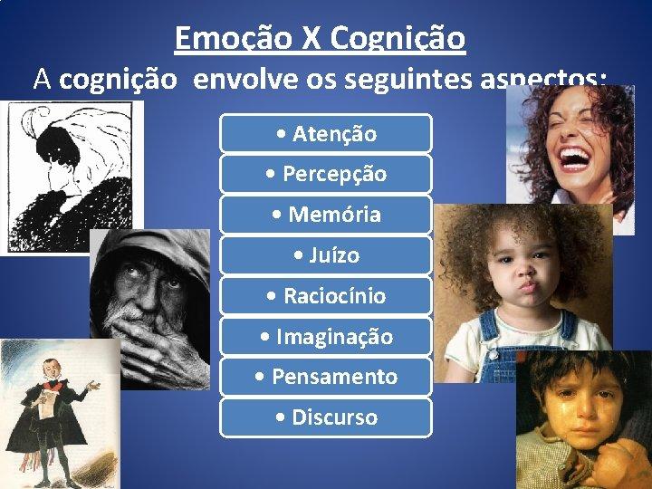 Emoção X Cognição A cognição envolve os seguintes aspectos: • Atenção • Percepção •