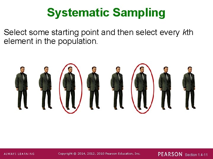 Systematic Sampling Select some starting point and then select every kth element in the