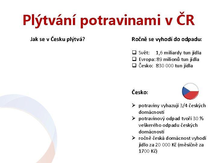 Plýtvání potravinami v ČR Jak se v Česku plýtvá? Ročně se vyhodí do odpadu: