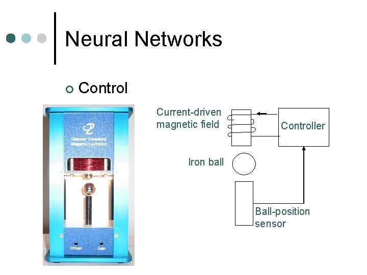 Neural Networks ¢ Control Current-driven magnetic field Controller Iron ball Ball-position sensor
