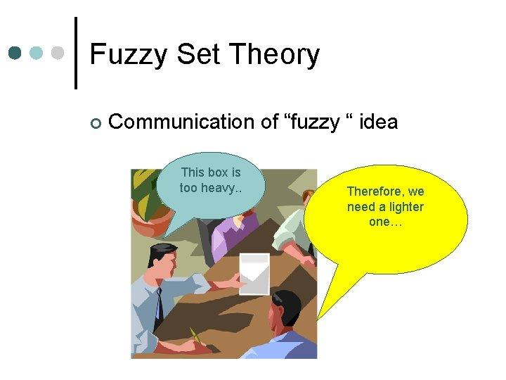 "Fuzzy Set Theory ¢ Communication of ""fuzzy "" idea This box is too heavy."