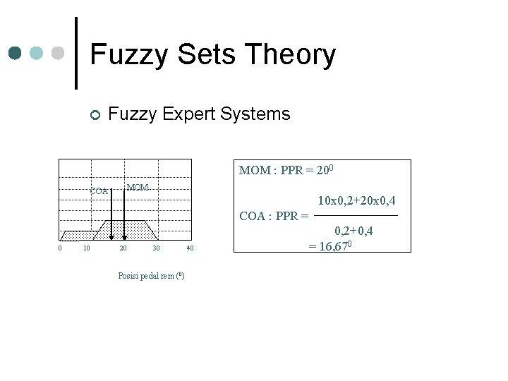 Fuzzy Sets Theory ¢ Fuzzy Expert Systems MOM : PPR = 200 MOM COA