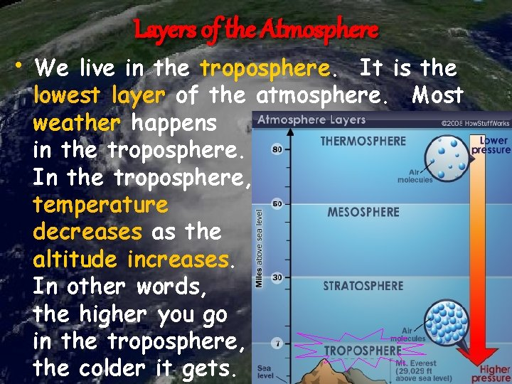 Layers of the Atmosphere • We live in the troposphere. It is the lowest
