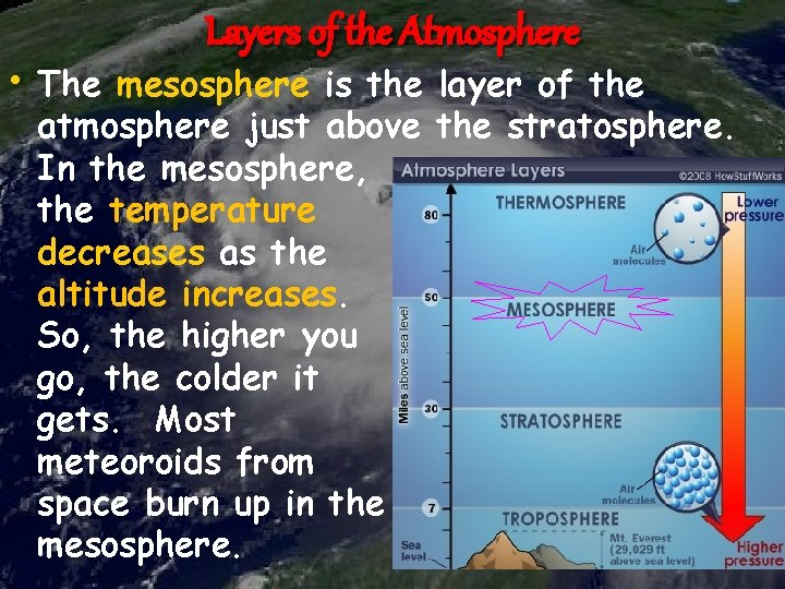 Layers of the Atmosphere • The mesosphere is the layer of the atmosphere just