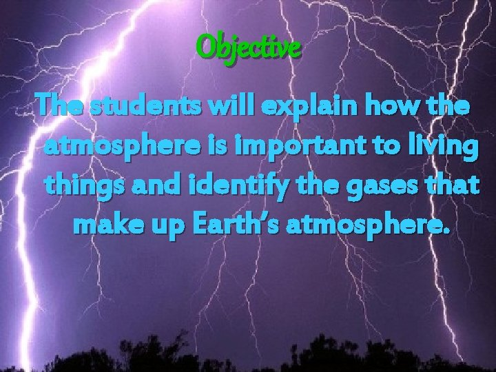 Objective The students will explain how the atmosphere is important to living things and