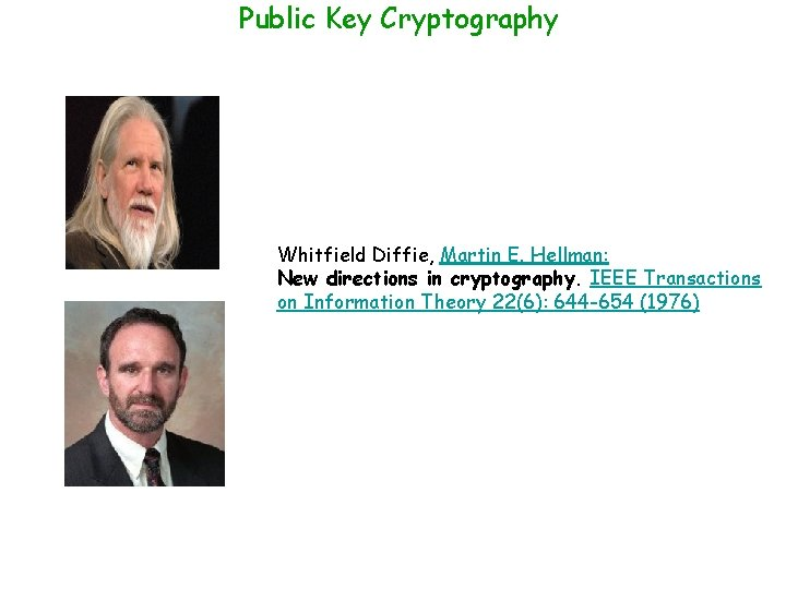 Public Key Cryptography Whitfield Diffie, Martin E. Hellman: New directions in cryptography. IEEE Transactions