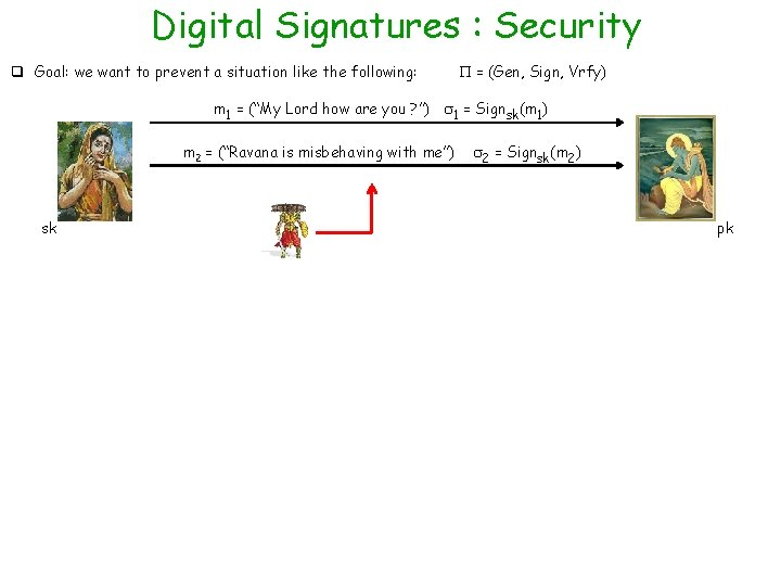 Digital Signatures : Security q Goal: we want to prevent a situation like the