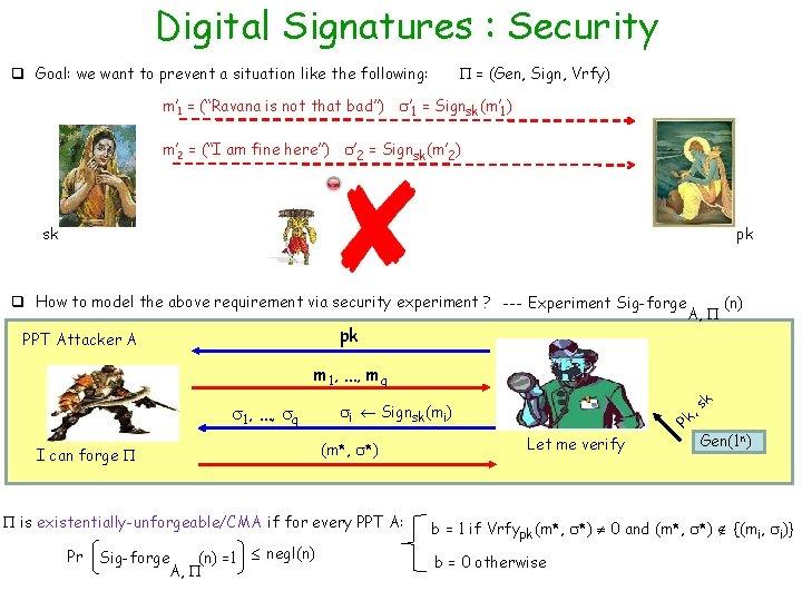 Digital Signatures : Security = (Gen, Sign, Vrfy) q Goal: we want to prevent