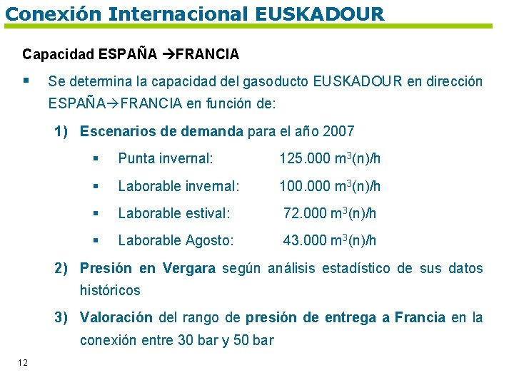 Conexión Internacional EUSKADOUR Capacidad ESPAÑA FRANCIA § Se determina la capacidad del gasoducto EUSKADOUR
