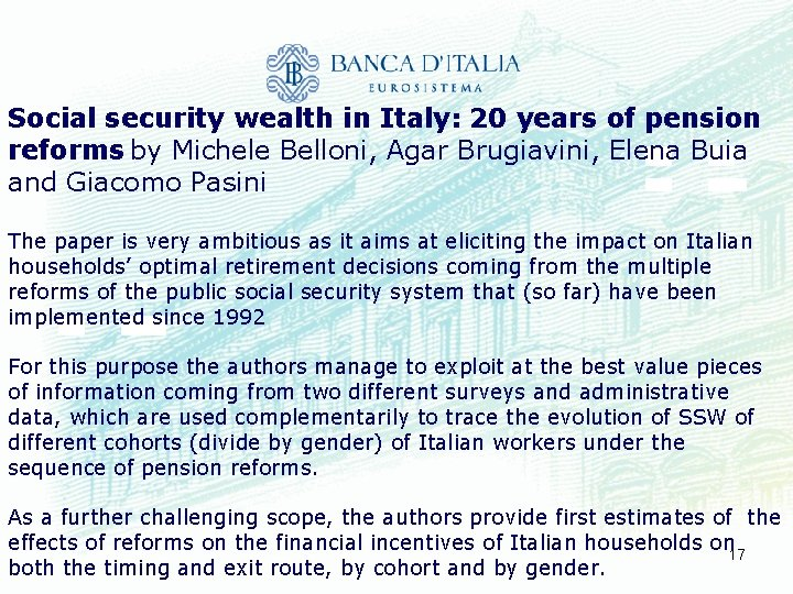 Social security wealth in Italy: 20 years of pension reforms by Michele Belloni, Agar