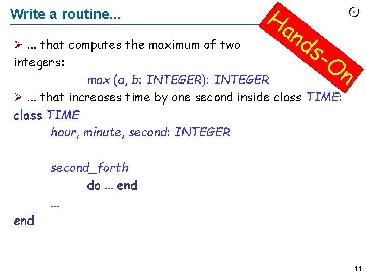 Write a routine. . . Ha n ds Ø. . . that computes the