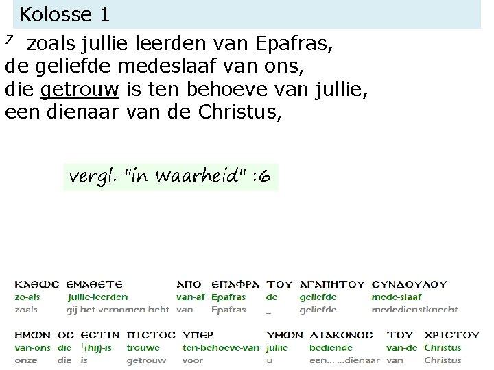 Kolosse 1 7 zoals jullie leerden van Epafras, de geliefde medeslaaf van ons, die
