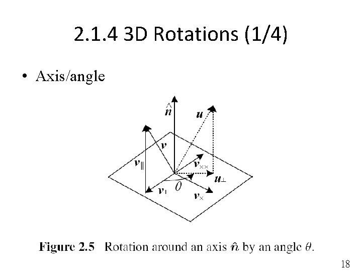 2. 1. 4 3 D Rotations (1/4) • Axis/angle 18