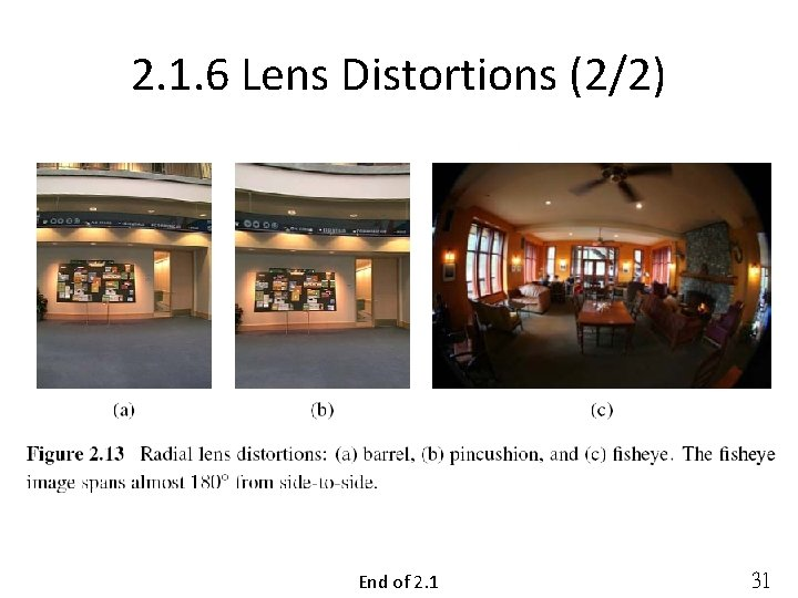2. 1. 6 Lens Distortions (2/2) End of 2. 1 31