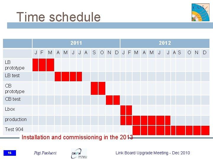 Time schedule 2011 J F M A M J J A 2012 S O