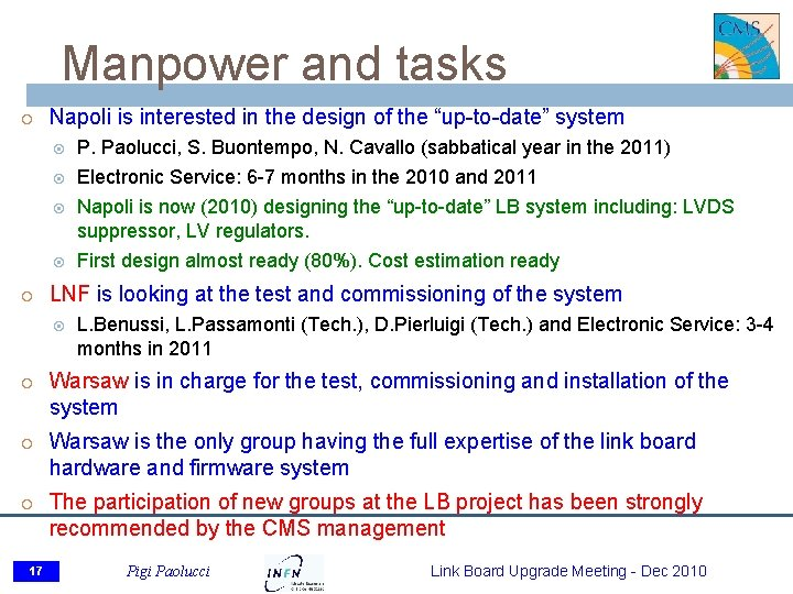 """Manpower and tasks Napoli is interested in the design of the """"up-to-date"""" system P."""