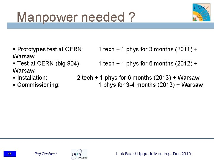 Manpower needed ? § Prototypes test at CERN: 1 tech + 1 phys for