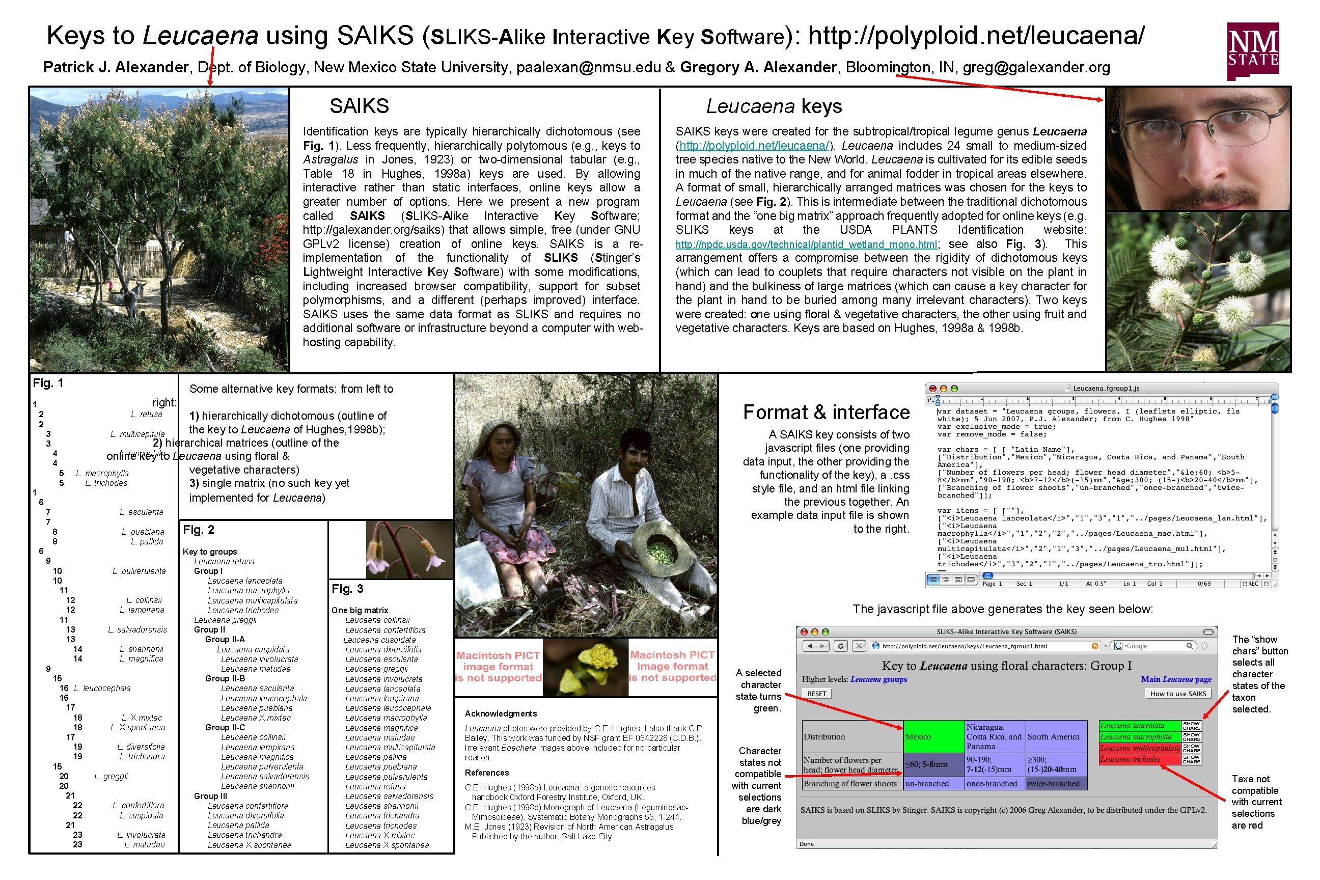 Keys to Leucaena using SAIKS (SLIKS-Alike Interactive Key Software): http: //polyploid. net/leucaena/ Patrick J.
