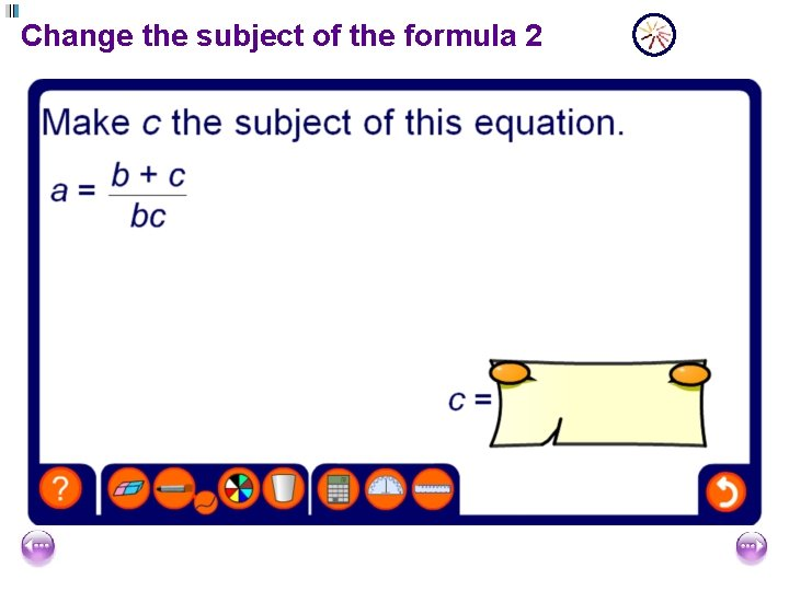 Change the subject of the formula 2