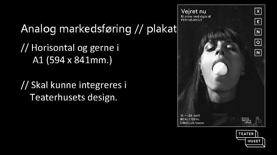 Analog markedsføring // plakat // Horisontal og gerne i A 1 (594 x 841