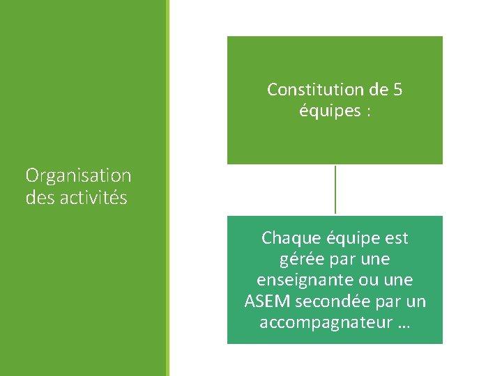 Constitution de 5 équipes : Organisation des activités Chaque équipe est gérée par une