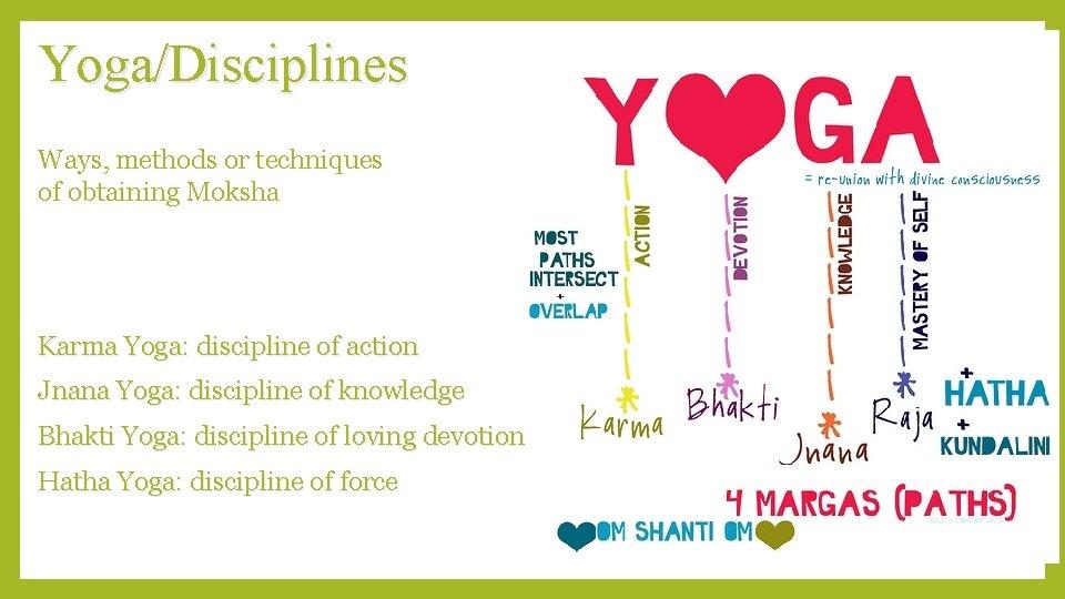Yoga/Disciplines Ways, methods or techniques of obtaining Moksha Karma Yoga: discipline of action Jnana