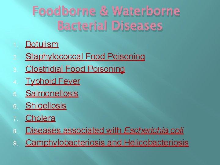 Foodborne & Waterborne Bacterial Diseases 1. 2. 3. 4. 5. 6. 7. 8. 9.