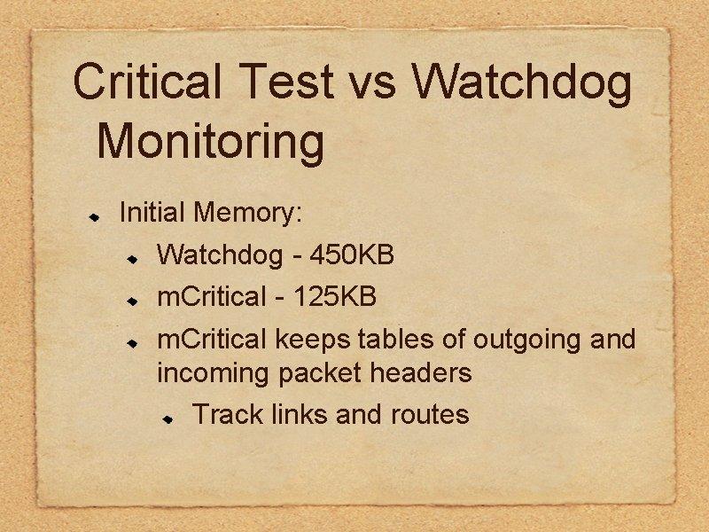 Critical Test vs Watchdog Monitoring Initial Memory: Watchdog - 450 KB m. Critical -