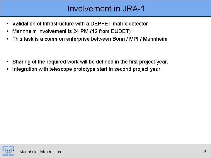 Involvement in JRA-1 § Validation of Infrastructure with a DEPFET matrix detector § Mannheim