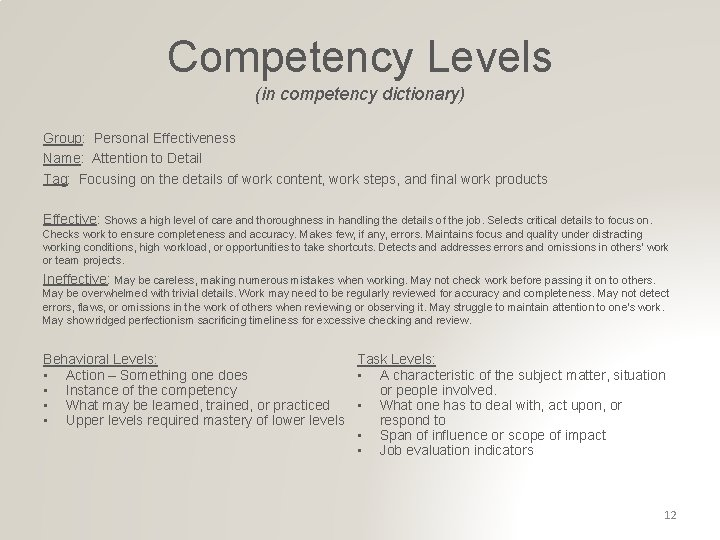 Competency Levels (in competency dictionary) Group: Personal Effectiveness Name: Attention to Detail Tag: Focusing