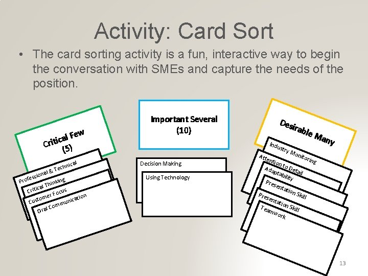 Activity: Card Sort • The card sorting activity is a fun, interactive way to