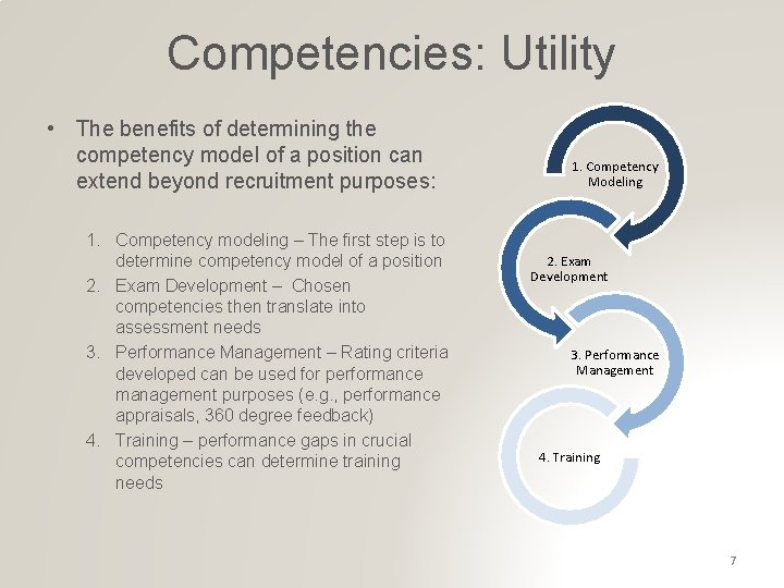 Competencies: Utility • The benefits of determining the competency model of a position can