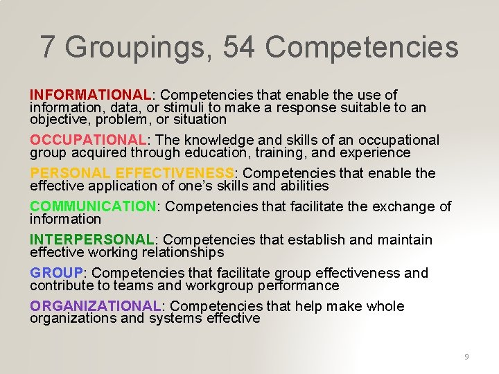 7 Groupings, 54 Competencies INFORMATIONAL: Competencies that enable the use of information, data, or