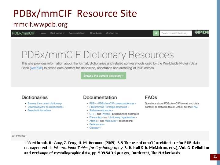 PDBx/mm. CIF Resource Site mmcif. wwpdb. org J. Westbrook, H. Yang, Z. Feng, H.