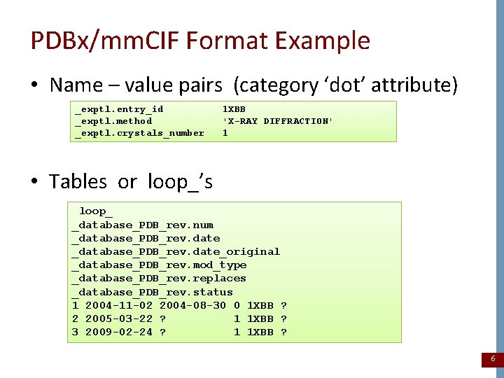 PDBx/mm. CIF Format Example • Name – value pairs (category 'dot' attribute) _exptl. entry_id