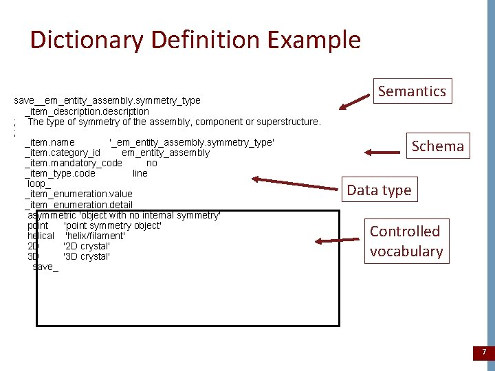 Dictionary Definition Example save__em_entity_assembly. symmetry_type _item_description ; The type of symmetry of the assembly,