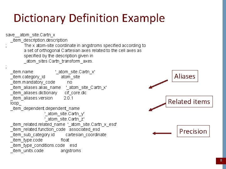 Dictionary Definition Example save__atom_site. Cartn_x _item_description ; The x atom-site coordinate in angstroms specified