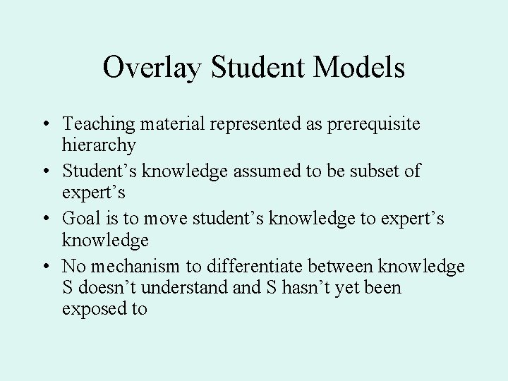 Overlay Student Models • Teaching material represented as prerequisite hierarchy • Student's knowledge assumed