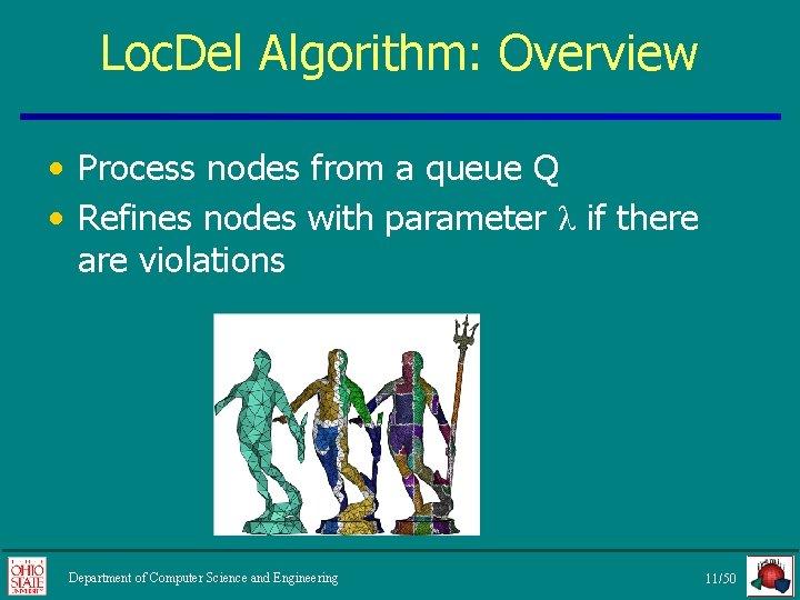 Loc. Del Algorithm: Overview • Process nodes from a queue Q • Refines nodes