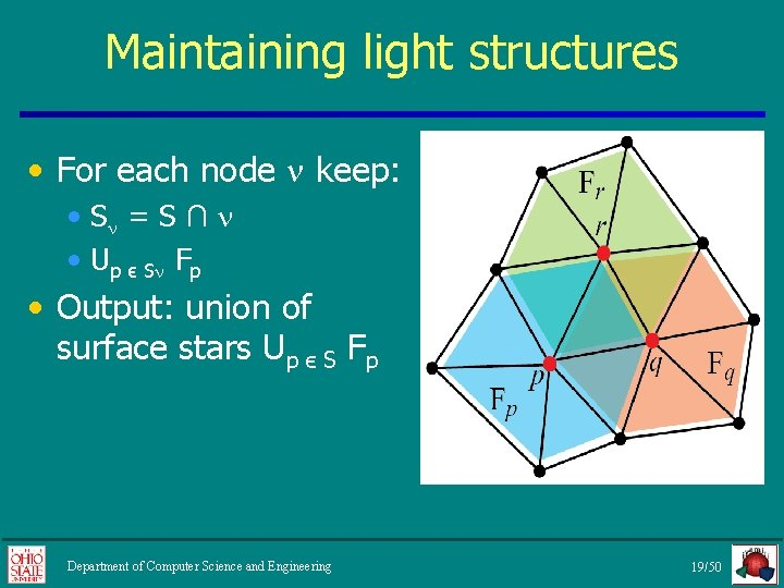 Maintaining light structures • For each node keep: • S = S ∩ •