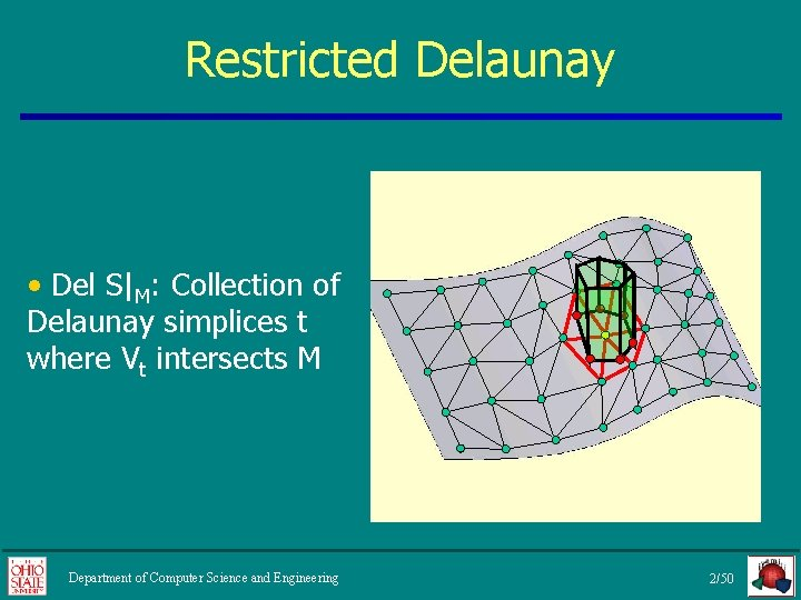 Restricted Delaunay • Del S|M: Collection of Delaunay simplices t where Vt intersects M