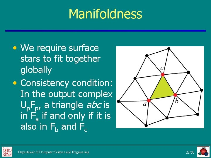 Manifoldness • We require surface stars to fit together globally • Consistency condition: In