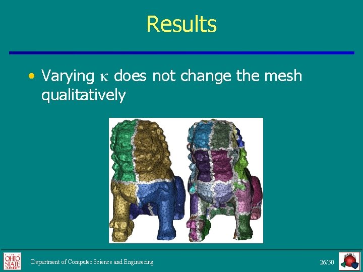 Results • Varying does not change the mesh qualitatively Department of Computer Science and